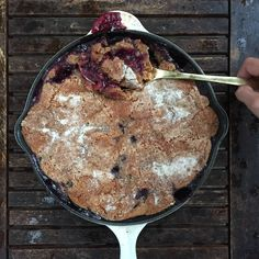 designer bags and dirty diapers: Peach Blueberry Skillet Cobbler