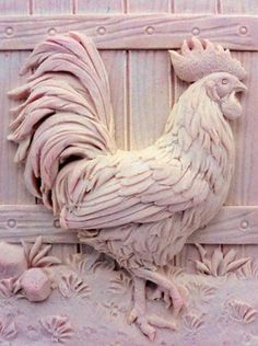Beautiful Hen - Detail of high relief sculpture - Silicone Soap/plaster/clay Mold - buy from original designer and maker Size(inch): 3 * 2 * 1 (thickness) Size(cm.): * * (thickness) MP Soap: 135 g oz.) per bar CP soap: 120 g oz.) per bar Packing: Wood Carving Designs, Wood Carving Patterns, Wood Carving Art, Wood Art, Art Sculpture En Bois, Sculpture Clay, Wall Sculptures, Soap Carving, Plaster Art