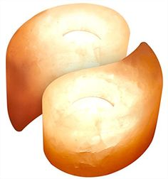 Crystal Allies Gallery: CA SCH-YY-2pc Pack of 2 Natural Himalayan Yin Yang Shaped Salt Tealight Candle Holder Air Purifier & Ionizer w/ Authentic Crystal Allies Info Card