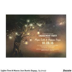 Lights Tree & Mason Jars Rustic Engagement Party Card