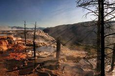 Sunbeams Mammoth Hot Springs, Yellowstone National Park