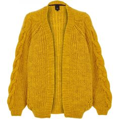 Checkout this Mustard yellow chunky cable knit cardigan from River Island Mustard Yellow Cardigan, Mustard Yellow Top, Long Knit Cardigan, Summer Tops, River Island, Knitwear, Cardigans, Women, Sleeve