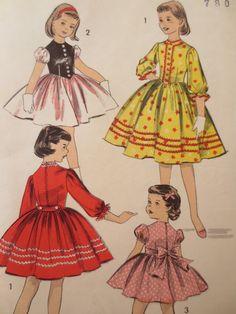 Vintage Advance 8142 Sewing Pattern, Tyrolean Dress, 1950s Dress Pattern, Full Skirted Dress, Little Girls Dress Pattern, 50s Vintage Sewing