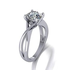 7.5mm round moissanite engagement ring, the center is equivalent to 1.5ct diamond size. the ring is made in 14k white gold. shipping is free in USA made in USA