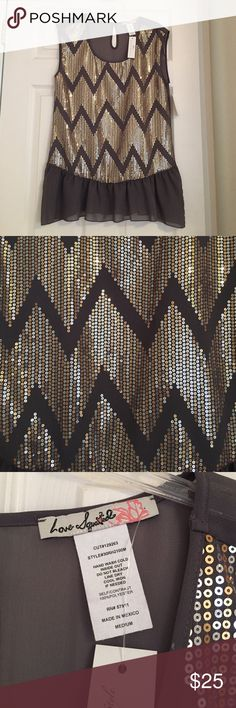 Sequined Chevron Top Brand new! Still with tags! Grey, gold and silver sequined top. Pair it with leggings or skinny jeans! Love Squared Tops