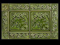"""White Oak Leaves 6"""" tile with Acorn Border 6""""x2"""" tiles - evergreen gloss glaze - Carreaux Du Nord"""