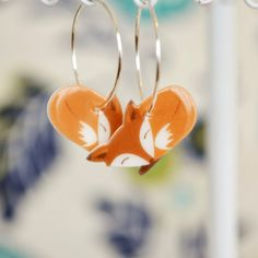 These cute little fox earrings feature my own illustration printed on them. They are super light-weight and comfortable to wear. The
