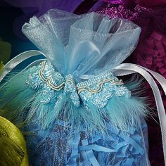 Feather Fringe Organza Bags