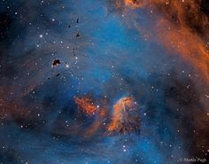 """Stars and Globules in the Running Chicken Nebula - The eggs from this gigantic chicken may form into stars. The featured emission nebula shown in scientifically assigned colors is cataloged as IC 2944 but known as the Running Chicken Nebula for the shape of its greater appearance. Seen toward the top of the image are small dark molecular clouds rich in obscuring cosmic dust. Called Thackeray's Globules for their discoverer these """"eggs"""" are potential sites for the gravitational condensation…"""