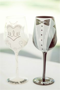 Interracial Lavender Richmond Virginia Wedding as seen on Hill City Bride Blog by Demi Mabry Photography personalized painted wine glasses