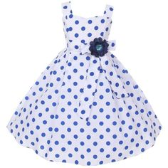 Cinderella Couture Big Girls' Cotton Polka Dotted Retro Flower Girl... (£26) ❤ liked on Polyvore