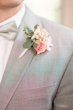 Pink Roses and Baby's Breath Boutonniere | Audrey Rose Photography https://www.theknot.com/marketplace/audrey-rose-photography-norfolk-va-766665 | Morrison's Flowers & Gifts https://www.theknot.com/marketplace/morrisons-flowers-and-gifts-williamsburg-va-512136