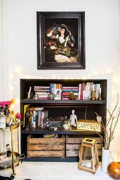 Home Living Room, Liquor Cabinet, Bookcase, Shelves, Storage, House, Inspiration, Furniture, Home Decor
