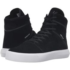 Supra Camino (Black/White) Men's Skate Shoes ($93) ❤ liked on Polyvore featuring men's fashion, men's shoes, men's sneakers, black, mens high tops, mens hi tops, mens leopard print shoes, mens high top sneakers and mens black high top sneakers