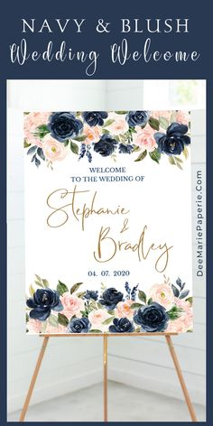 Navy & blush wedding welcome sign template, boho wedding decor, personalized floral wedding printable, editable template Navy & blush wedding welcome sign template features watercolor boho wedding decor. This personalized floral w Navy Blush Weddings, Blue And Blush Wedding, Pink Wedding Theme, Wedding Themes, Boho Wedding, Floral Wedding, July Wedding Colors, Wedding Navy, Wedding Posters