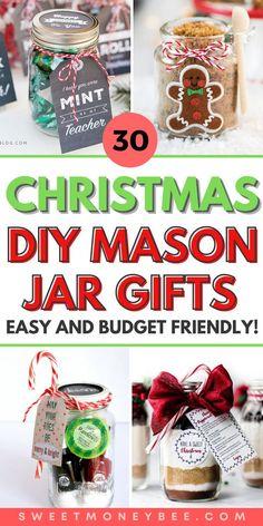 Cheap Christmas Diy Gifts, Mason Jar Christmas Crafts, Neighbor Christmas Gifts, Neighbor Gifts, Jar Crafts, Holiday Gifts, Christmas Ideas, Gift Jars, Mason Jar Gifts