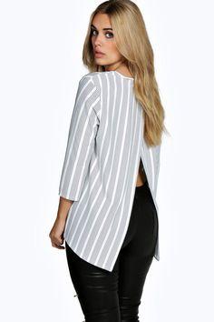 Plus Mia Stripe 3/4 Sleeve Shell Top