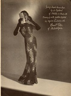 Vintage ad featuring a sarong dress by Jo Copeland for Bonwit Teller. #vintage #1940s 1950s #fashion #ads
