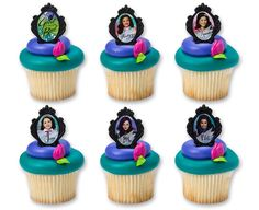 Disney Descendants cupcake toppers - Good is The New Bad Cupcake Rings (12 Count) available from DecoPac store.