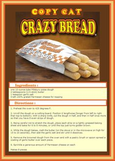 copy cat crazy bread recipe *don't waste your time! Kids thought it was ok but the dough was so not caesars was sweeter or something* Bread Recipes, Cooking Recipes, Cooking Food, Easy Cooking, Crazy Bread, Copykat Recipes, Restaurant Recipes, Bread Baking, I Love Food