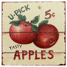 Barnyard Designs Tasty Apples 5 Cents Retro Vintage Tin Bar Sign Country Home Decor X - The Zedign House - Store Vintage Tins, Retro Vintage, Vintage Metal, Apple Kitchen Decor, Apple Decorations For Kitchen, Apple 5, Apple Farm, Apple Orchard, Apple Garden