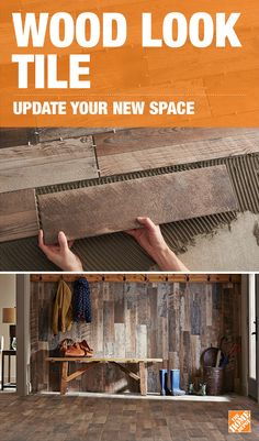 Easy-to-install wood look ceramic tile planks are a great project for a new homeowner. This tile from Marazzi looks just … Ideas Hogar, Wood Look Tile, Up House, New Homeowner, Diy Décoration, My New Room, Home Interior, My Dream Home, Home Projects