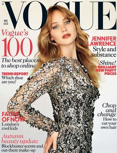 Jennifer Lawrence is on the cover of British Vogue for the November issue.