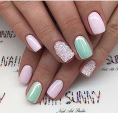 42 ideas for nails shellac glitter pink Classy Nails, Fancy Nails, Pink Nails, Cute Nails, Pretty Nails, Silver Glitter Nails, Glitter Nail Art, Square Acrylic Nails, Dipped Nails