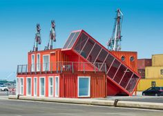 Shipping containers are often repurposed to create buildings, and this structure by Tel Aviv studio Potash Architects features one container balanced at a precarious angle.