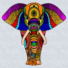 42 Ideas For Drawing Beautiful Coloring Pages Mandala Art, Mandalas Drawing, Mandala Design, Wal Art, Elephant Art, Elephant Tattoos, Dot Painting, Painting Tips, Abstract Paintings