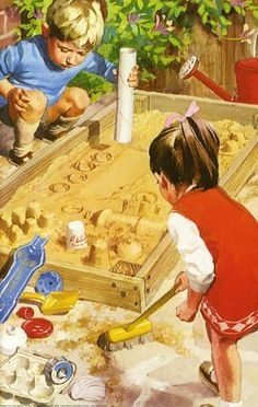 (Ladybird Book - Playing in the sand pit) Reminds me of the sandbox in the backyard 1978-1980