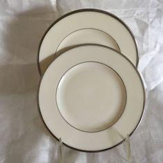 "2 Lenox Montclair B501 Presidential Bread & Butter Plate w/Platinum Trim 6 1/4"" #Lenox"