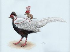 A Lady Shrew and Her Silver Pheasant Art Print from an by TinyRed