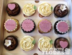 Say It With Flours is a bakery based in Liverpool offering cupcakes and cakes. Cupcakes Design, Custom Cupcakes, Hen Party Food, Hen Party Cakes, Hen Night Ideas, Hen Ideas, Hens Night, Pretty Cupcakes, Flower Cupcakes