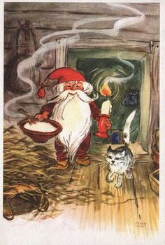 """""""Have yourself a merry little Christmas"""" Christmas Tale, Merry Little Christmas, Vintage Christmas Cards, David The Gnome, Humanoid Creatures, Nostalgic Images, Kobold, Scandinavian Gnomes, Christmas Pictures"""