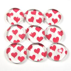 Marble Magnets or Push Pins Set  Hot Pink Hearts by sideproject, $7.00
