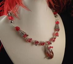 Red Crystal Necklace Wire Wrapped with Sterling Silver by talpal2