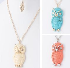 Owl Necklace + Earrings $7.25 Sassy Steals - A Daily Boutique & Handmade Deal Website + Weekly Giveaways