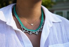 DIY Braided Rhinestone Necklace, this would be great with leather too!