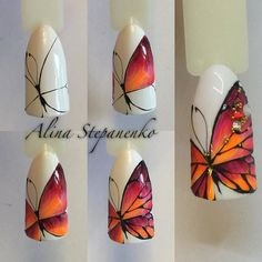 Nails University. Ногти и Маникюр пошагово. Animal Nail Designs, Butterfly Nail Designs, Butterfly Nail Art, Nail Art Designs, Gel Nail Art, Easy Nail Art, Gel Nails, Spring Nails, Summer Nails
