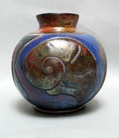 "Raku Pottery Gift Ceramic Houseware Art Seashell Vase 7x7x7"". $25.00, via Etsy."