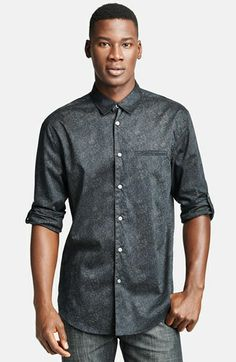 John Varvatos Collection Slim Fit Floral Print Cotton Shirt with Button Tab Sleeves | Nordstrom