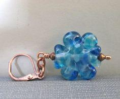 Glass Earrings Copper Earrings Blue Earrings Ocean by fiveforty, $24.00