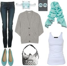 """""""Aqua and Gray"""" by laura-meiers on Polyvore"""