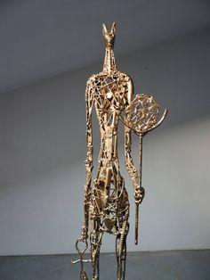 Anubi (Time traveler) by Michele Rizzi (Saatchiart) Sculpture Art, Sculptures, Archaeological Finds, Anubis, Steel Material, Steel Metal, Time Travel, Buy Art, Saatchi Art