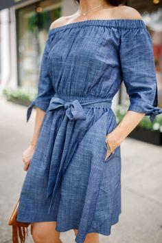 Off Shoulder Denim Dress:  A Perfect Fit from eShakti