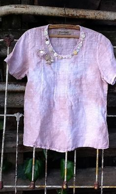 Incredibly lovely softened linen upcycled top- a FLAX top, made with softened linen. I tea dyed and kettle dyed it- unevenness and lovely rose shades