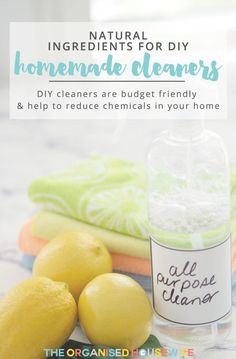 Natural Ingredients for DIY Homemade Cleaners - The Organised Housewife Homemade Cleaning Wipes, Diy Home Cleaning, Cleaning Tips, Natural Cleaning Recipes, Natural Cleaning Products, Diy Cleaners, Cleaners Homemade, Diy Design, Detox Your Home