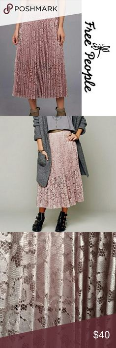 """Free People pleated lace midiskirt Feminine and alluring skirt by Free people features a contrasting vegan leather waistband. Lined. Excellent condition.33"""" long, measures 32"""" waistband. Free People Skirts Midi"""