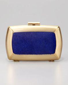 POPSUGAR Shopping: BCBG MAX AZRIALiza Calf-Hair Minaudiere, Blue